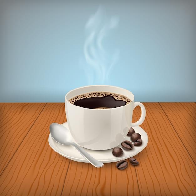Realistische schale mit schwarzem klassischem espresso auf dem tisch Kostenlosen Vektoren