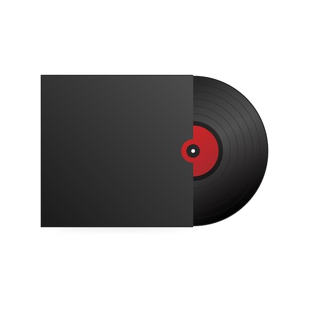 Realistische schallplatte mit cover schwarz. disco-party. retro-design. . Premium Vektoren