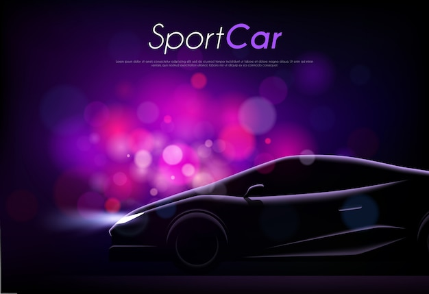 Realistische schattenbild der sportwagenkarosserie editierbaren text und verschwommene lila partikelvektorillustration Kostenlosen Vektoren