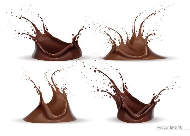 Realistische schokoladen-splash-set vektor für design-label, hintergründe, drucken, projekte Premium Vektoren