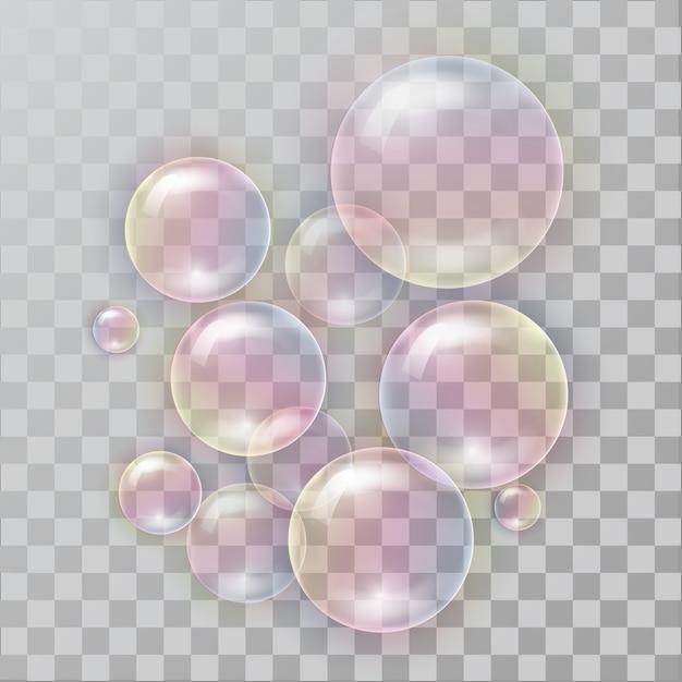 Realistische seifenblasen mit regenbogenreflexion. Premium Vektoren