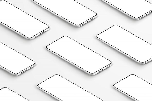 Realistische smartphones. handys mit leeren weißen bildschirmen. moderne handyschablone auf weißem hintergrund. abbildung des gerätebildschirms Premium Vektoren