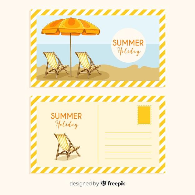 Realistische sommerferienpostkartensammlung Kostenlosen Vektoren