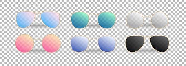 Realistische sonnenbrille auf dem transparenten hintergrund. sommerbrille mit farbverlauf. Premium Vektoren