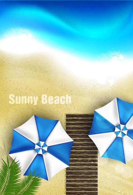 Realistische sonnige strand draufsicht Premium Vektoren