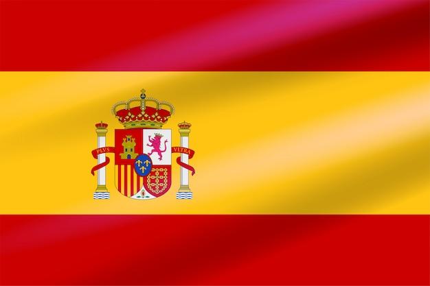 Realistische spanische flagge, die sich im wind mit wappen mit kronen, einem löwen und einer burg auf dem hintergrund eines schildes entwickelt. flaches vektoremblem. Premium Vektoren