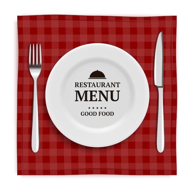 Realistische speisekarte. template-menü mit abbildungen von geschirr und besteck messer und gabel Premium Vektoren