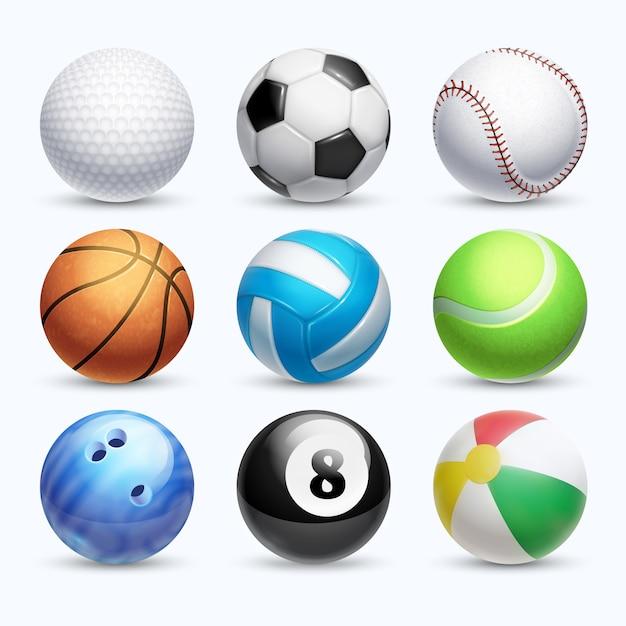 Realistische sportbälle vektor festgelegt. farbenkugel und -basketball für spielillustration Premium Vektoren