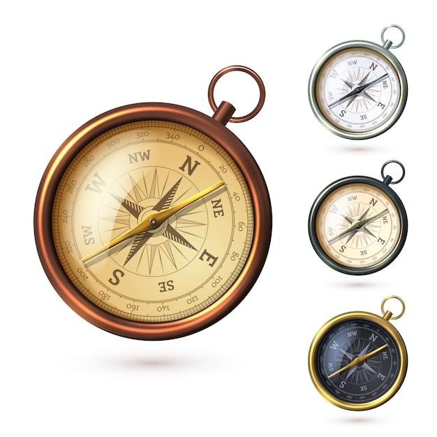 Realistische stil kompass Premium Vektoren