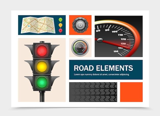 Realistische straßenelemente mit navigationskartenzeigern ampel tacho traktor reifen illustration gesetzt Kostenlosen Vektoren