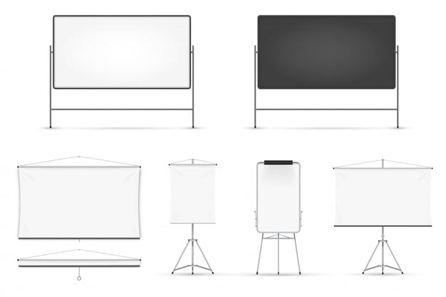 Realistische tafel auf weißem hintergrund eingestellt Premium Vektoren