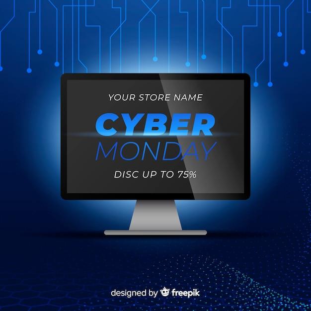 Realistische technologie cyber montag Kostenlosen Vektoren