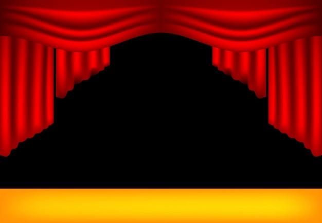 Realistische theatervorhänge Premium Vektoren