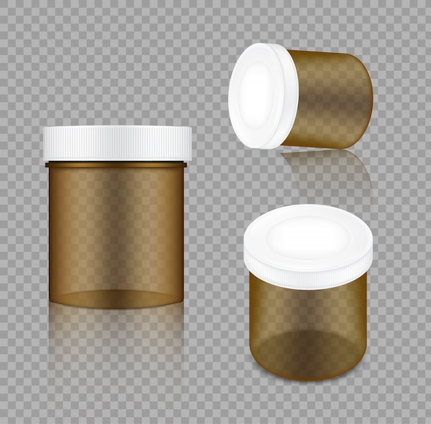 Realistische transparente amber jar-verpackung Premium Vektoren