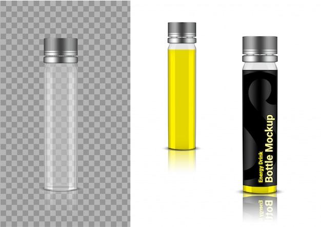 Realistische transparente flasche enerygy drink oder vitamin-produktverpackung Premium Vektoren