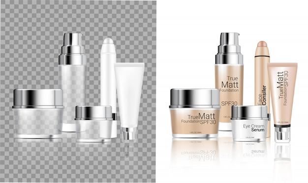 Realistische transparente flaschenkosmetik Premium Vektoren