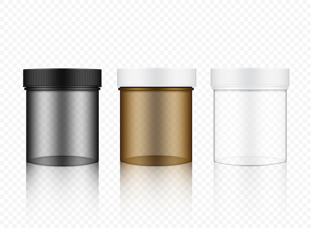 Realistische transparente glasverpackung Premium Vektoren