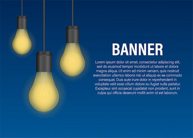 Realistische transparente glühlampefahne Premium Vektoren