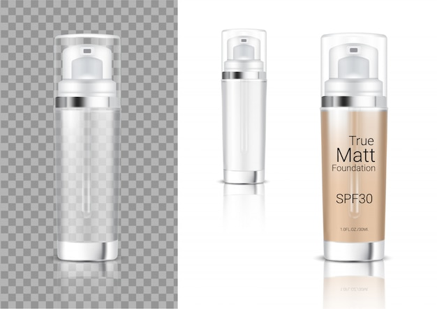 Realistische transparente pump bottle cosmetic Premium Vektoren