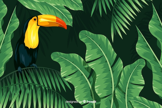 Realistische tropische blätter und vögel hintergrund Kostenlosen Vektoren