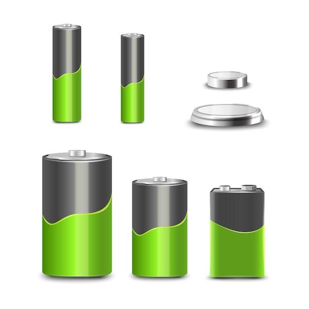 Realistische typen der batterie 3d stellen dekorative ikonen ein Kostenlosen Vektoren