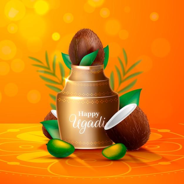 Realistische ugadi-vase mit kokosnusshälften Kostenlosen Vektoren