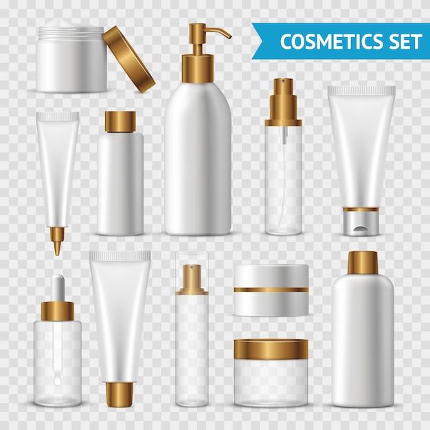 Realistische und lokalisierte transparente kosmetikikone stellte mit goldbatchern auf transparentem hintergrund ein Kostenlosen Vektoren