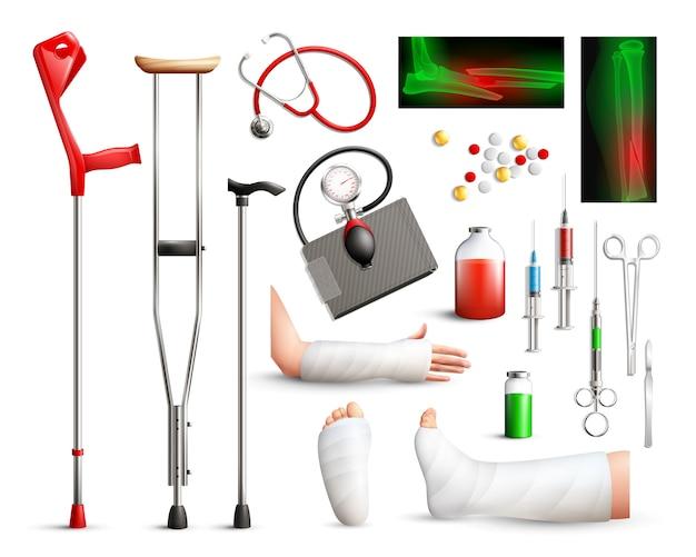 Realistische unfallchirurgie elementsatz Kostenlosen Vektoren