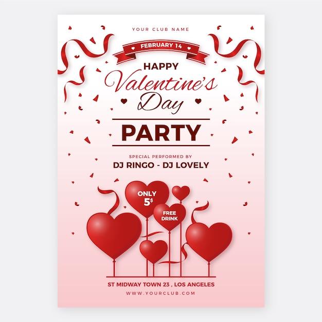 Realistische valentinstag party plakat vorlage Kostenlosen Vektoren