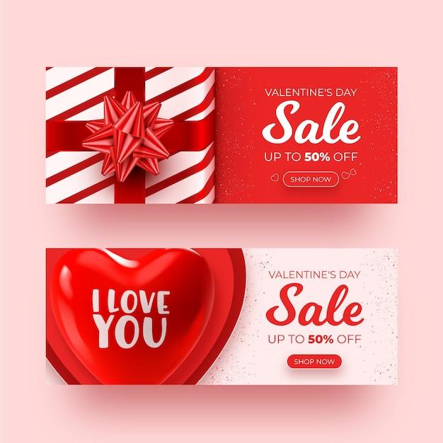 Realistische valentinstag-verkaufsfahnen gesetzt Kostenlosen Vektoren