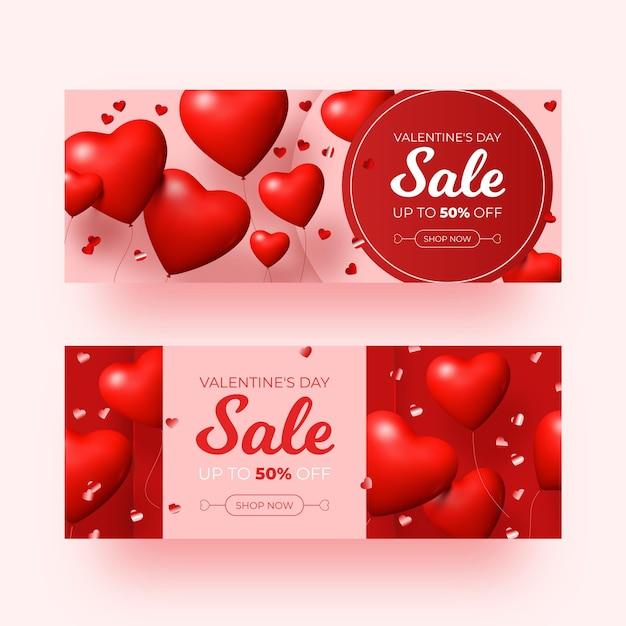 Realistische valentinstagsverkaufsbannersammlung Kostenlosen Vektoren