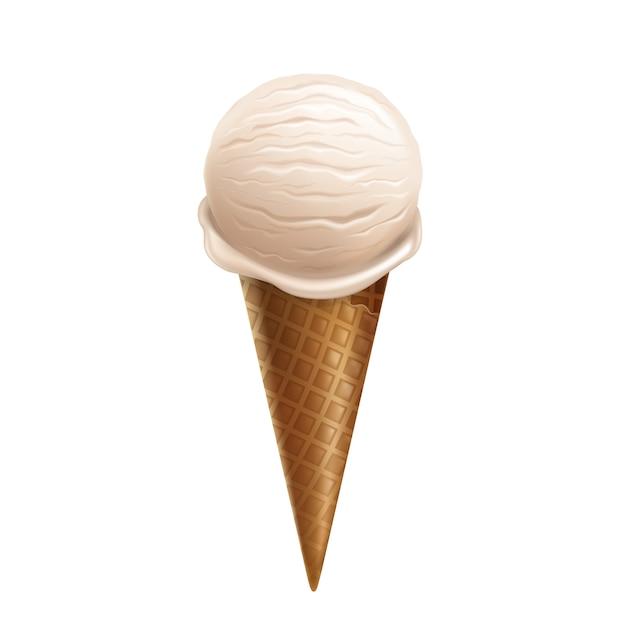 Realistische vanilleeiscreme 3d im waffelkegel lokalisiert auf weißem hintergrund. Kostenlosen Vektoren