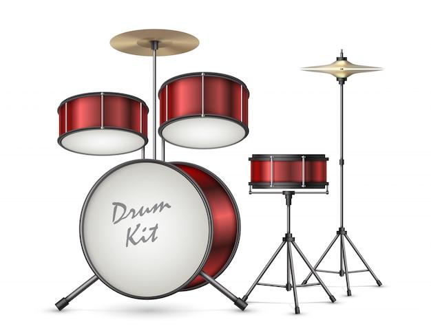 Realistische vektorillustration der trommelausrüstung lokalisiert auf hintergrund. professionelles perkussions-musikinstrument Kostenlosen Vektoren