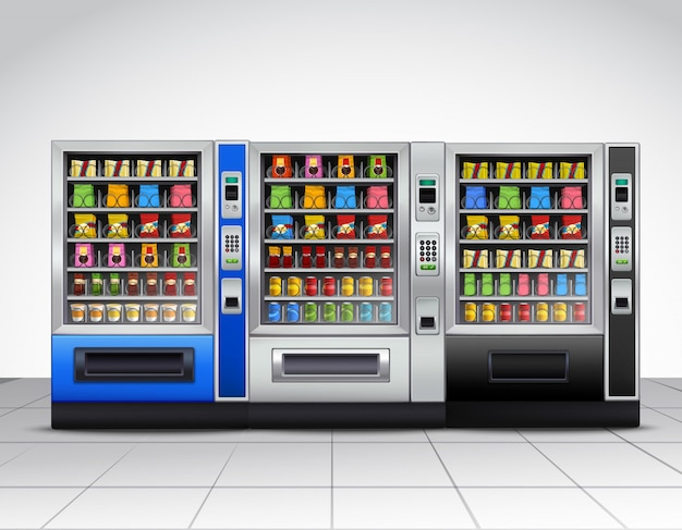 Realistische verkaufsautomaten vorderansicht Kostenlosen Vektoren
