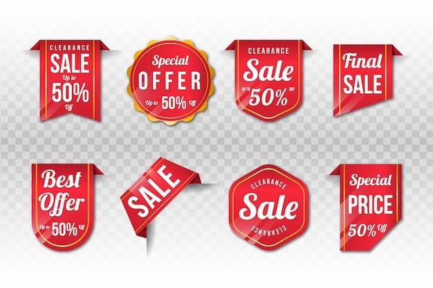 Realistische verkaufsetikettensammlung Kostenlosen Vektoren