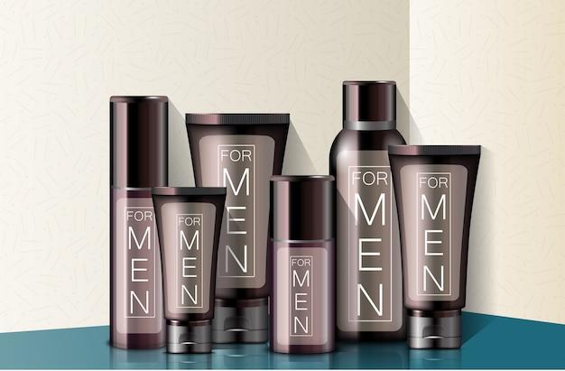 Realistische verschiedene arten von männern kosmetik Premium Vektoren