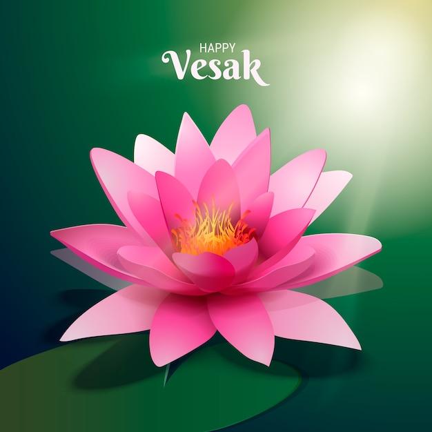 Realistische vesak schöne rosa lotusblume Kostenlosen Vektoren