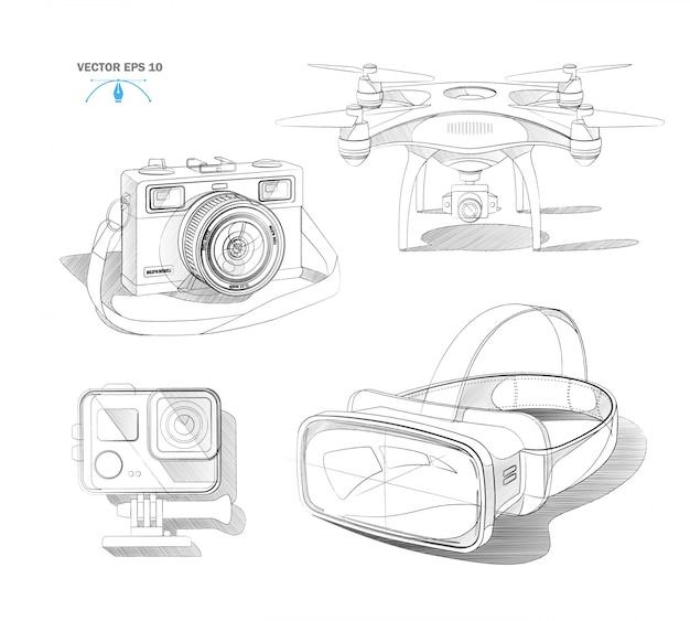 Realistische virtual-reality-headset-air-quad-drohne, action-kamera und vintage-fotokamera-blaupausen-set Premium Vektoren