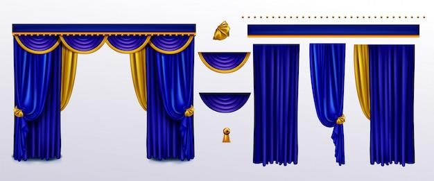 Realistische vorhänge gesetzt, blaues tuch mit goldenen krawatten Kostenlosen Vektoren