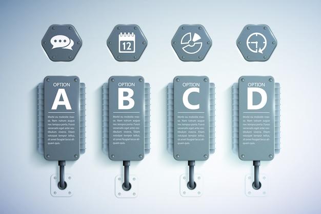 Realistische vorlage des infografikgeschäfts mit vier optionen und symbolen des grauen kühlelementtextes Premium Vektoren