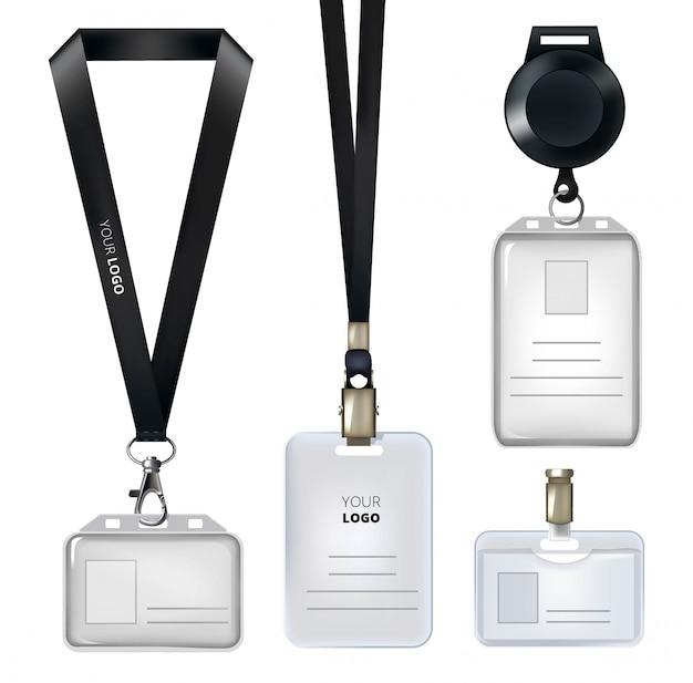 Realistische vorlage des personalausweises oder der persönlichen abzeichen Premium Vektoren