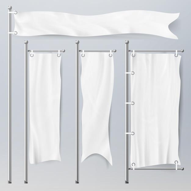 Realistische vorlage leere weiße fahnen Premium Vektoren
