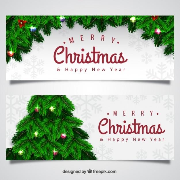 realistische weihnachten banner mit baum download der. Black Bedroom Furniture Sets. Home Design Ideas