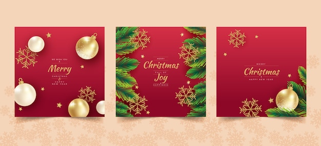 Realistische weihnachts-instagram-beitragsvorlage Kostenlosen Vektoren