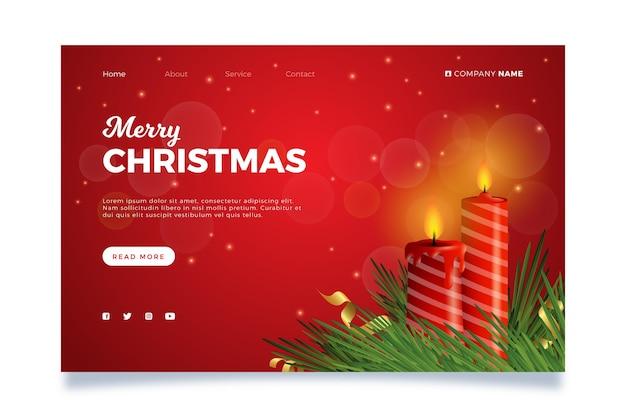 Realistische weihnachts-landingpage-vorlage Kostenlosen Vektoren