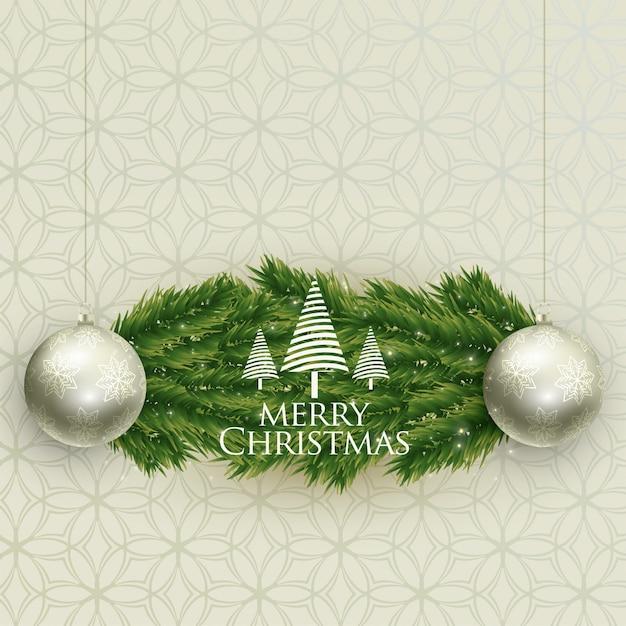 Realistische weihnachtsbälle und baum verlässt backgroung Kostenlosen Vektoren