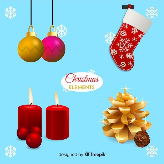 Realistische weihnachtsdekoration elemente pack Kostenlosen Vektoren