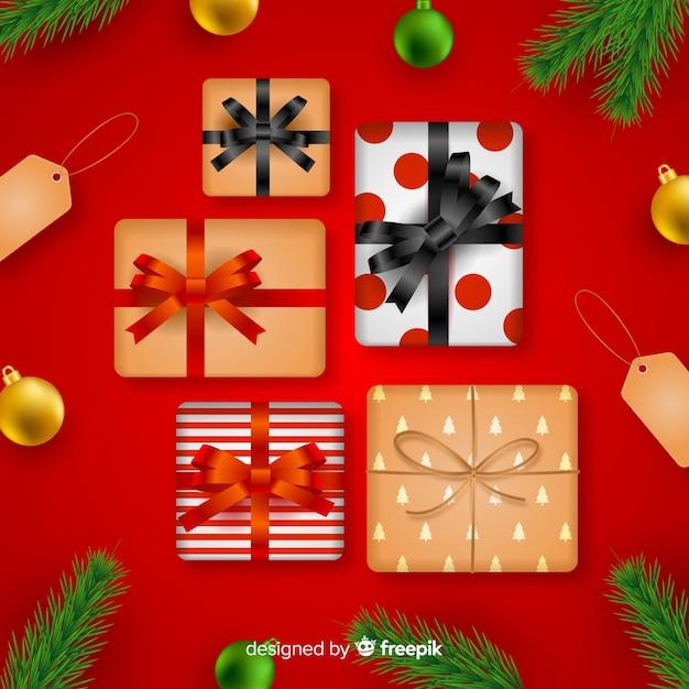 Realistische weihnachtsgeschenksammlung der draufsicht Kostenlosen Vektoren