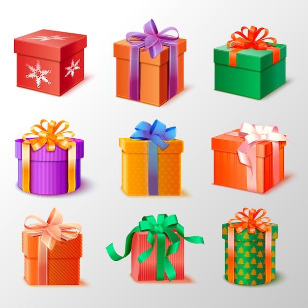 Realistische weihnachtsgeschenksammlung Kostenlosen Vektoren