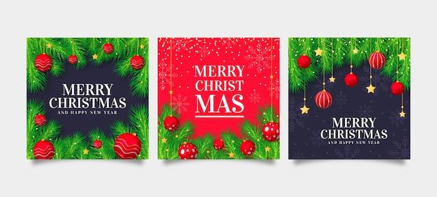Realistische weihnachtskartensammlung Kostenlosen Vektoren
